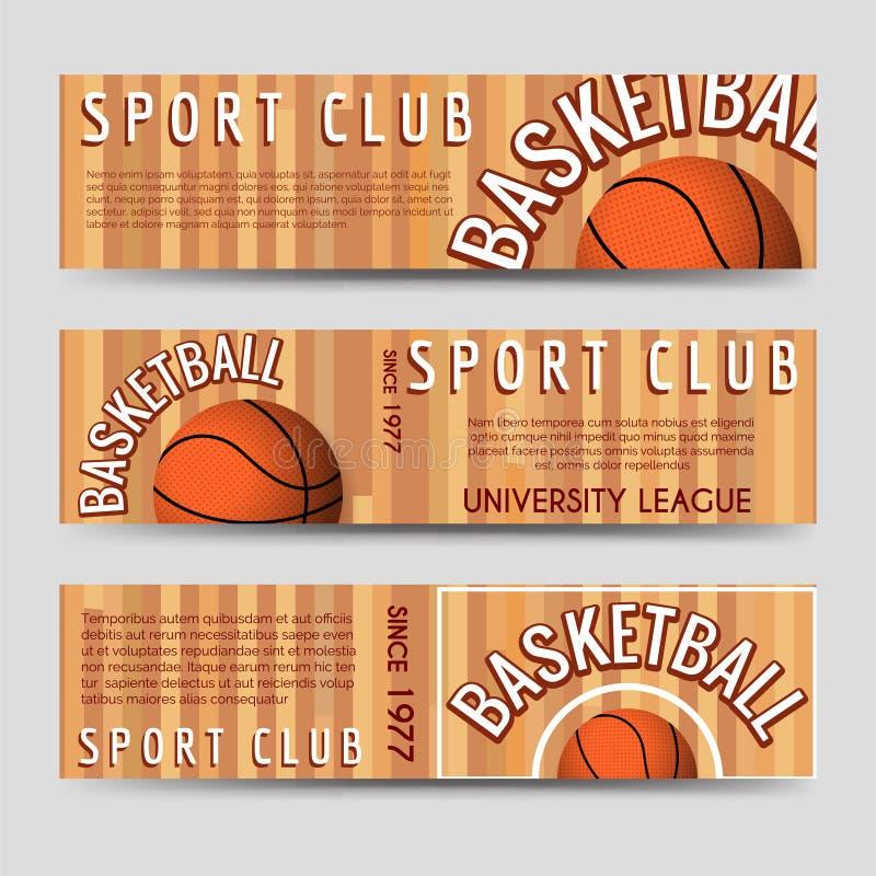 Mall för baner för basketsportklubba horisontal royaltyfri illustrationer