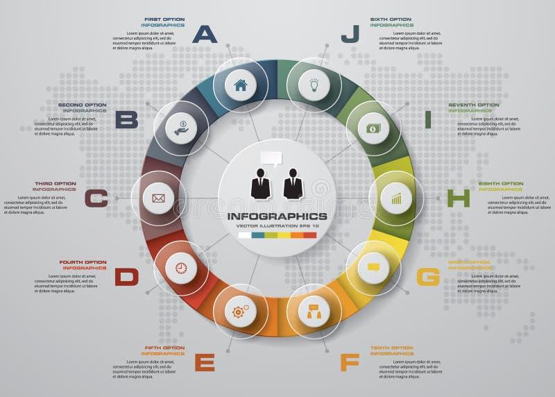 Mall för baner för designrengöringnummer/diagram- eller websiteorientering diagram för 10 moment royaltyfri illustrationer