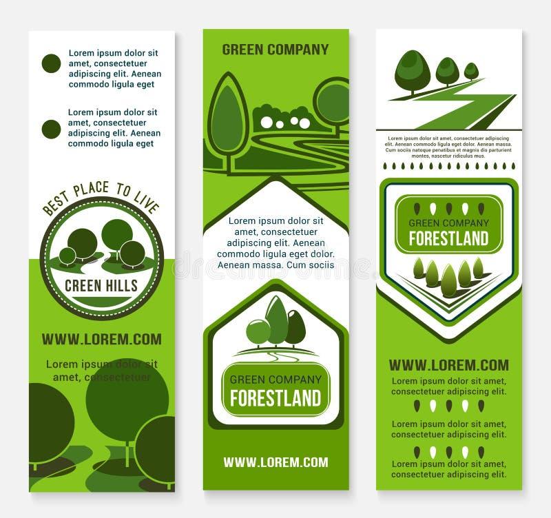 Mall för baner för Eco gräsplanaffär med trädet stock illustrationer