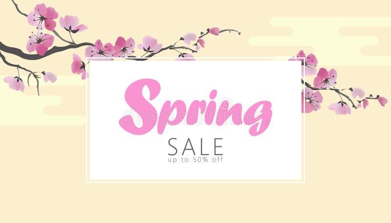 Mall för baner för försäljning för vår för vektorvattenfärgsakura blomning Rengöringsduken för affisch för rosa färgblommafilial  royaltyfri illustrationer