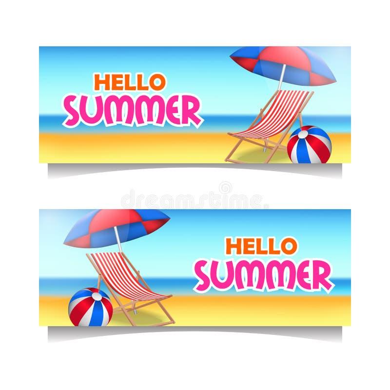 Mall för baner för Hello sommarstrand med tropiskt paradis för sand med stol och paraplyet stock illustrationer