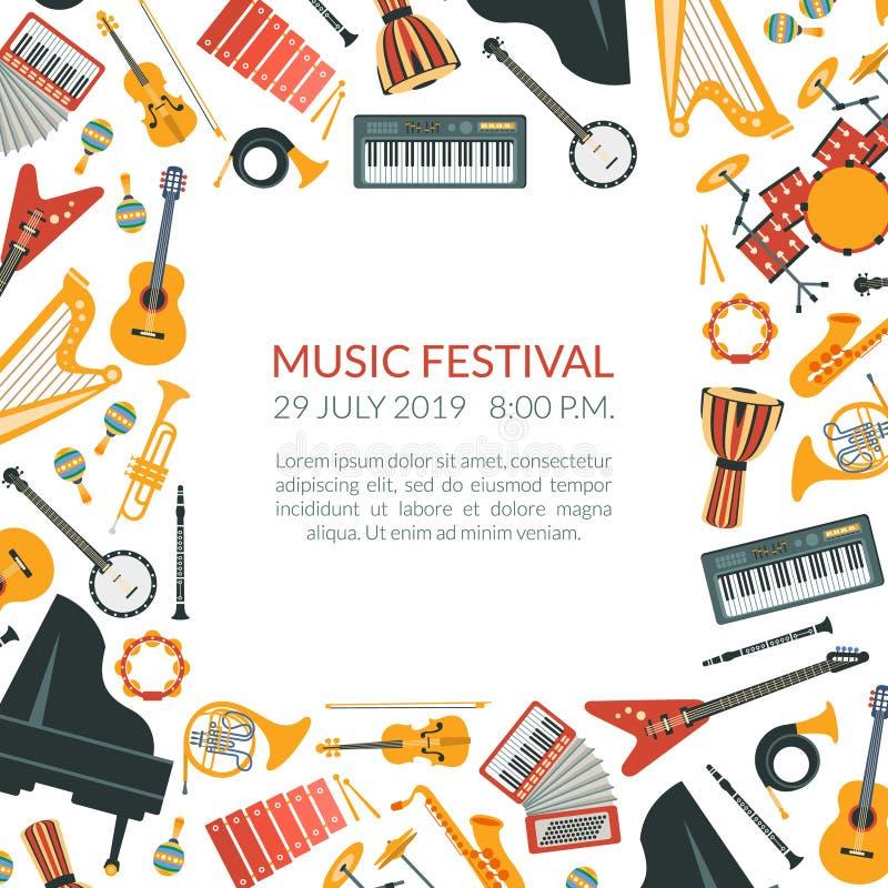 Mall för baner för musikfestival med musikinstrument och utrymme för textvektorillustration vektor illustrationer