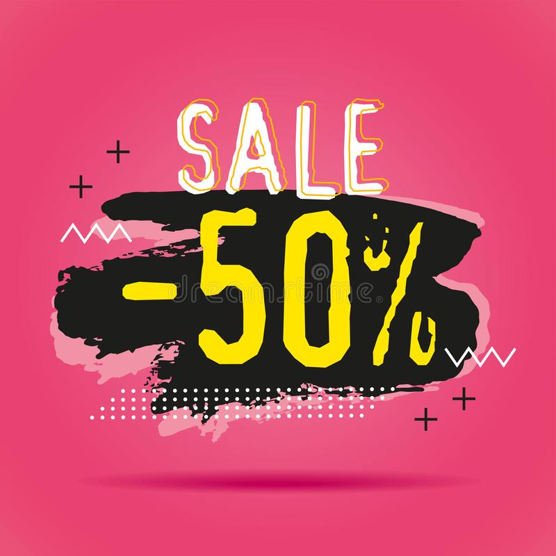 Mall för baner för rabattförsäljning 50% stock illustrationer