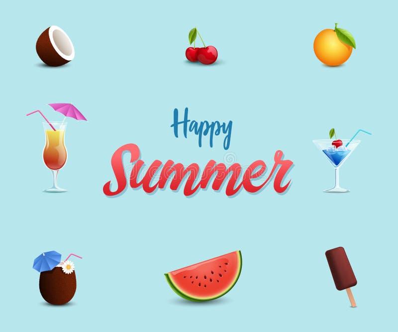Mall för baner för strandkafévektor Söta sommartidefterrätter, vattenmelon, glass, körsbär Sommarcoctailar, alkohol vektor illustrationer