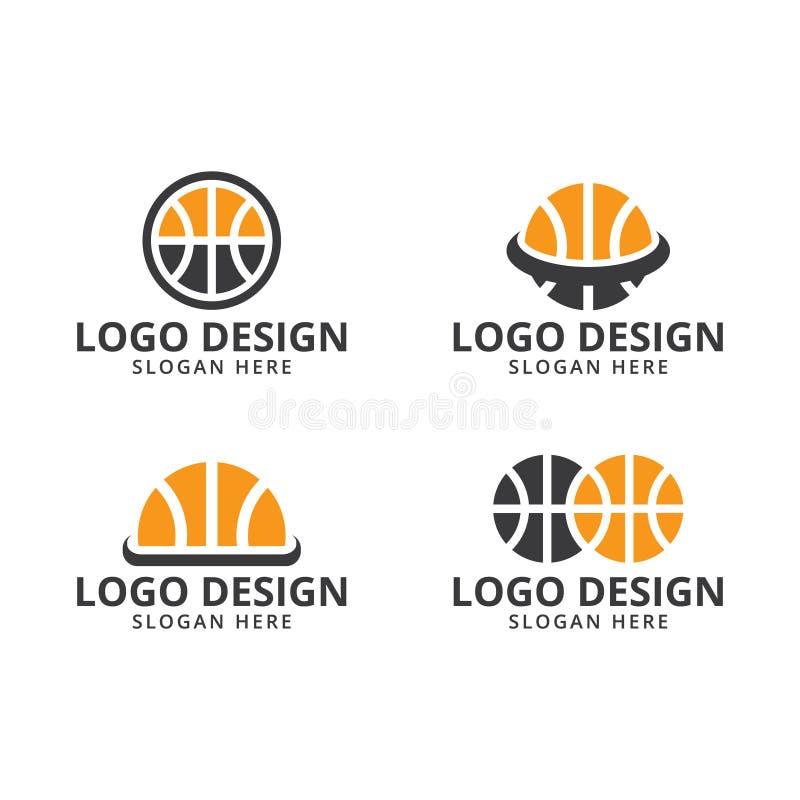 Mall för basketlogodesign på packe vektor illustrationer
