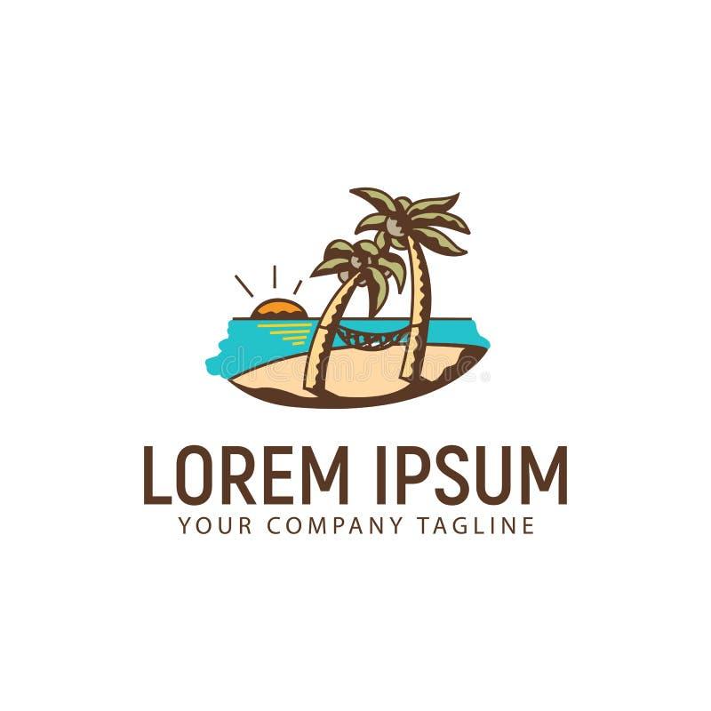 Mall för begrepp för design för logo för sommarlandskaphand utdragen vektor illustrationer