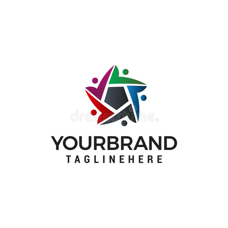 Mall för begrepp för design för logo för stjärna för gemenskap för affärsfolk royaltyfri illustrationer