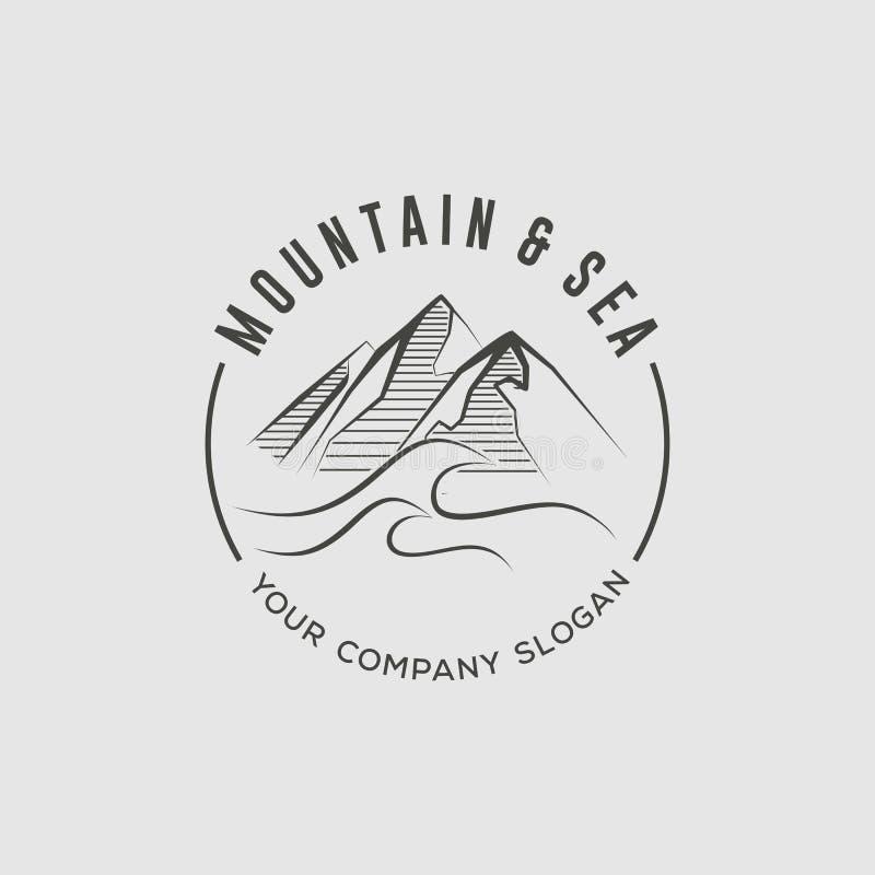 Mall för berg- och havslogodesign stock illustrationer