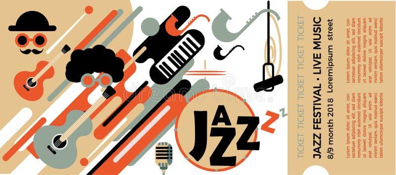 Mall för biljetten av jazzfestivalen med musikinstrument Illustration med saxofonen och pianotangenter och gitarr colo stock illustrationer