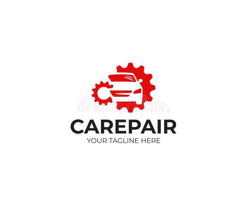 Mall för bilreparationslogo Bil som reparerar vektordesign vektor illustrationer