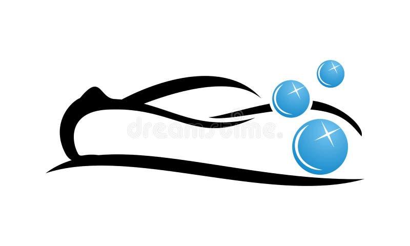 Mall för biltvättlogodesign stock illustrationer