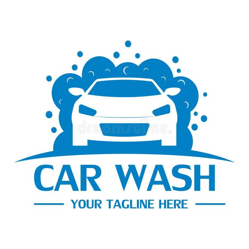 Mall för biltvättlogodesign royaltyfri illustrationer
