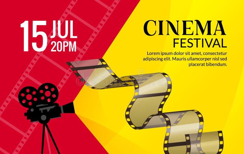 Mall för biofestivalaffisch Vektorcamcorder och linje videobandillustration Bakgrund för filmfestivalkonst royaltyfri illustrationer