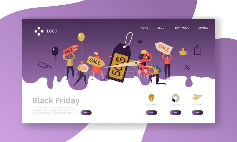 Mall för Black Friday landningsida Säsongsbetonad rabattWebsiteorientering med plana folktecken på shopping royaltyfri illustrationer