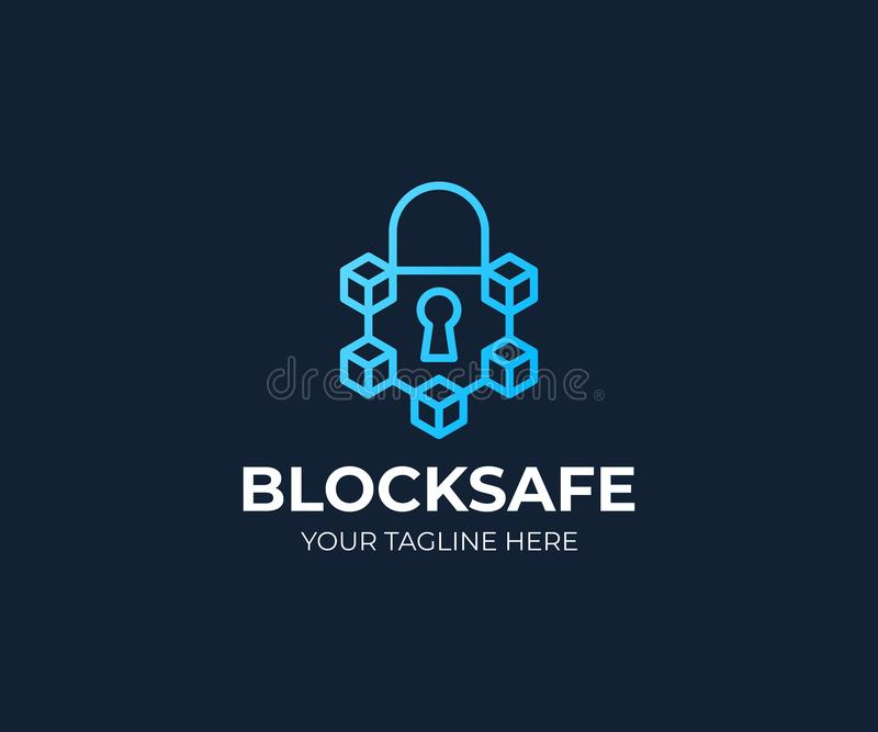 Mall för Blockchain säkerhetslogo Kryptografivektordesign royaltyfri illustrationer