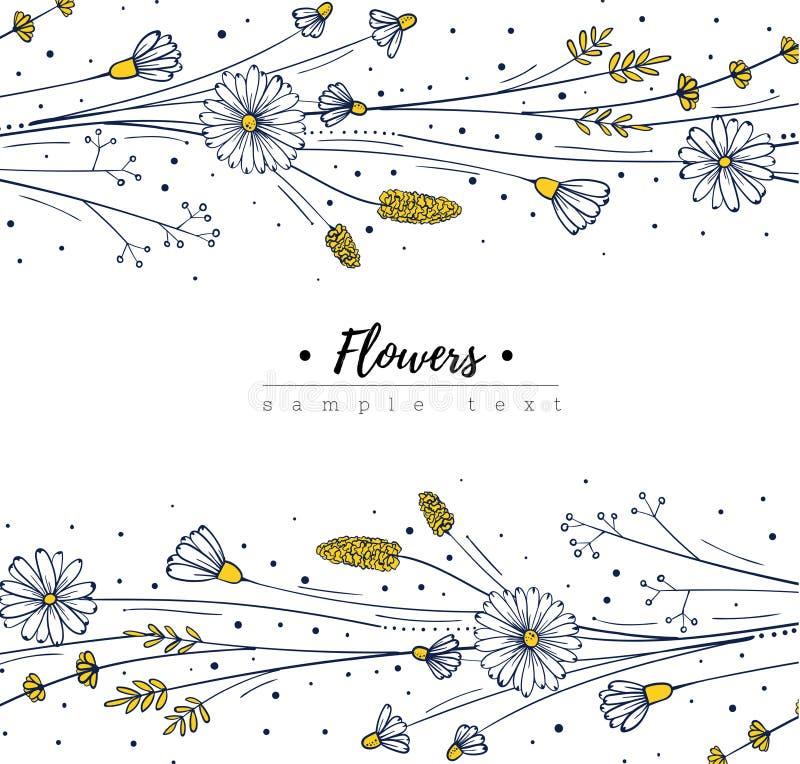 Mall för blom- design Klottervildblommor blomma ramen stock illustrationer