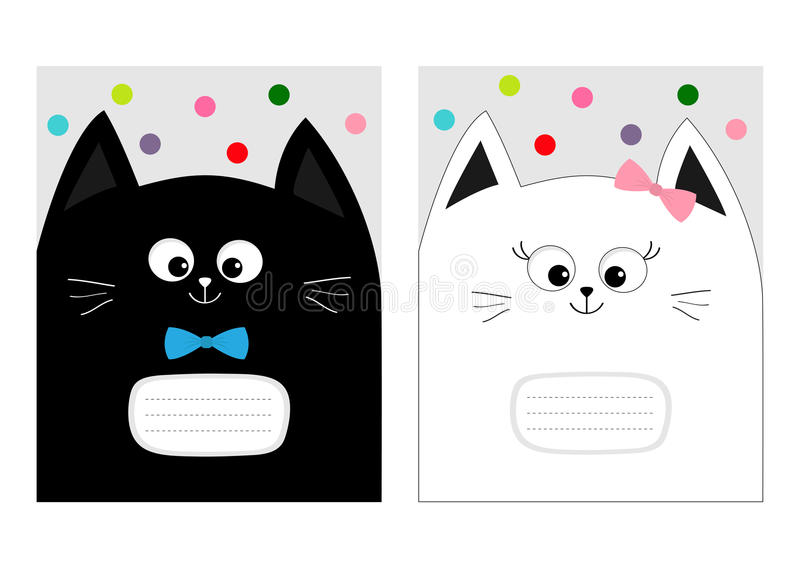 Mall för bok för anteckningsbokräkningssammansättning Svart vitt kattpotthuvud med pilbågen Gulligt tecknad filmtecken - uppsättn vektor illustrationer