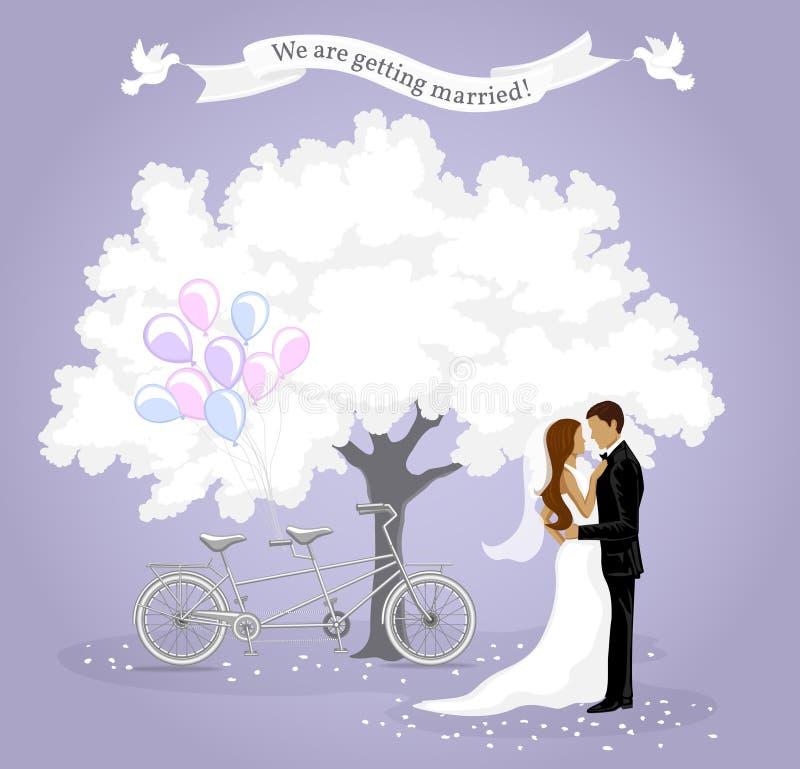 Mall för bröllopinbjudankort royaltyfri illustrationer