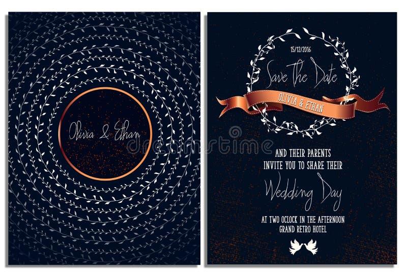 Mall för bröllopinbjudankort Klart tryck datumet sparar royaltyfri illustrationer