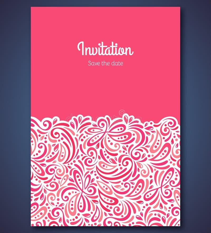 Mall för bröllopinbjudankort med abstrakt begrepp royaltyfri illustrationer