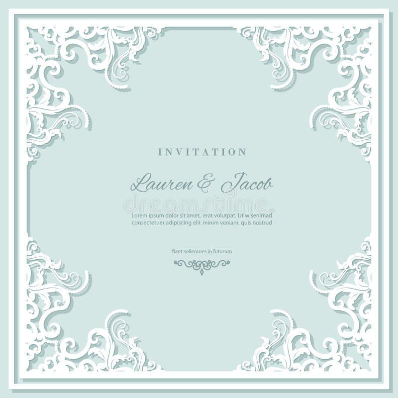 Mall för bröllopinbjudankort med den bitande ramen för laser Fyrkantig design för filigranutklippkuvert Pastellblått och vit royaltyfri illustrationer