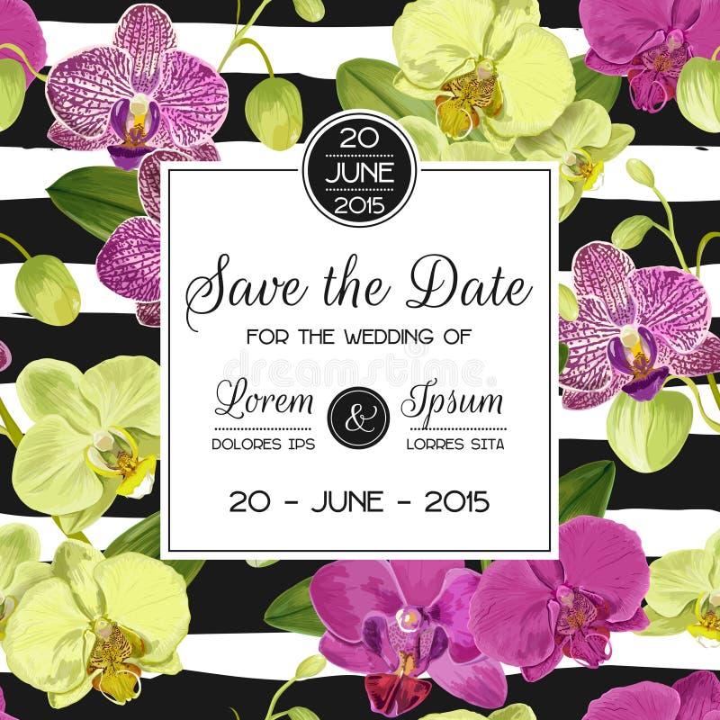 Mall för bröllopinbjudanorientering med orkidéblommor Spara det blom- kortet för datumet med exotiska blommor för parti vektor illustrationer