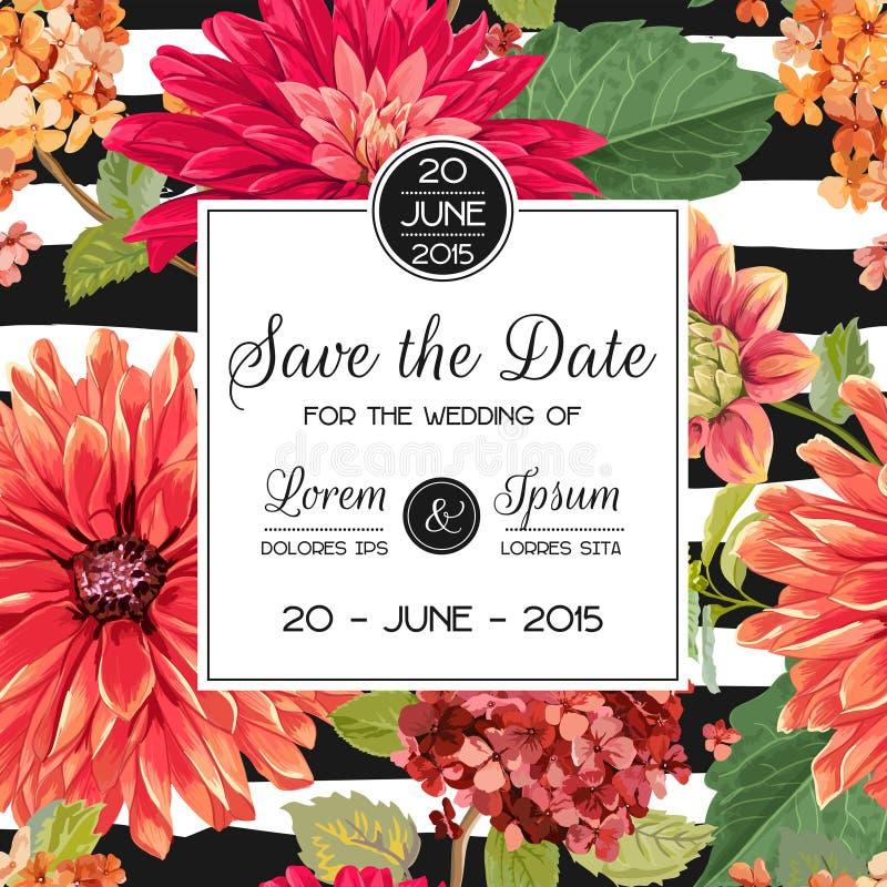 Mall för bröllopinbjudanorientering med röda asterblommor Spara det blom- kortet för datumet med exotiska blommor för parti royaltyfri illustrationer