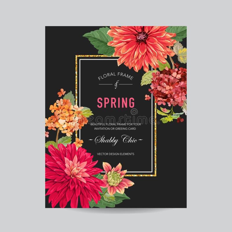 Mall för bröllopinbjudanorientering med röda asterblommor Spara det blom- kortet för datumet med exotiska blommor för parti stock illustrationer