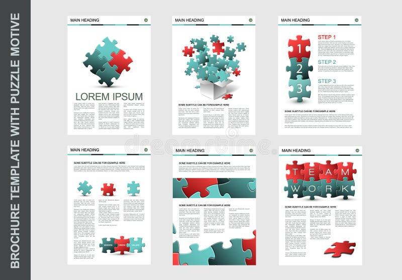Mall för broschyrreklambladdesign med pusslet stock illustrationer