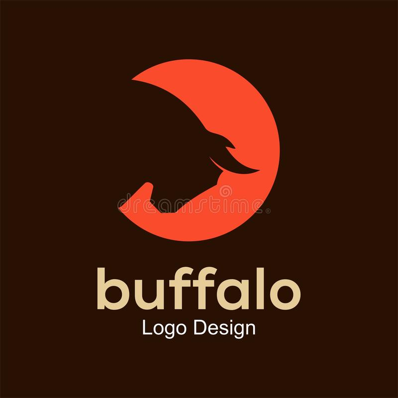 Mall för buffellogodesign royaltyfri illustrationer