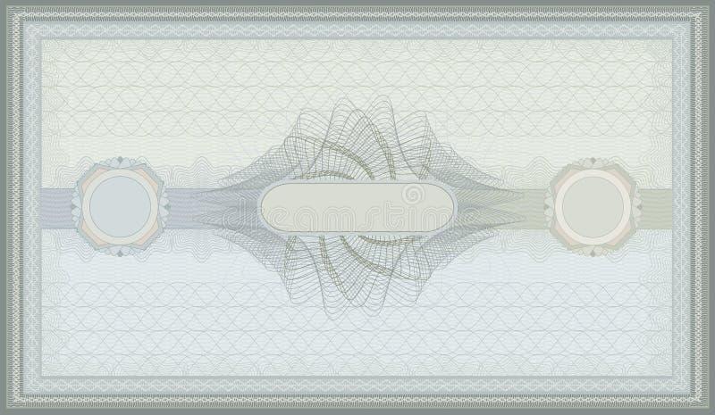 Certifikat för guilloche för kuponggräsplanblått royaltyfri illustrationer