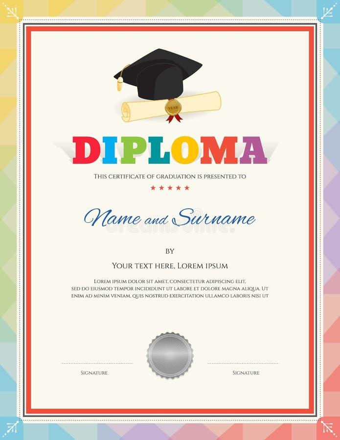 Mall för certifikat för skolaungediplom i modern stil vektor illustrationer