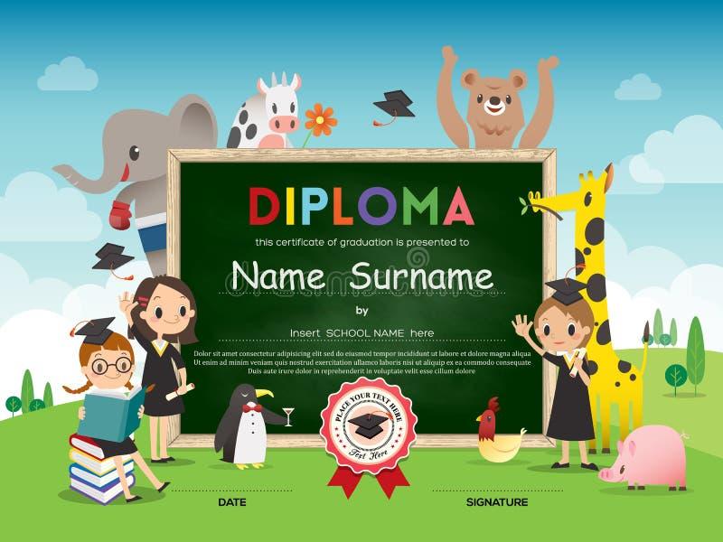 Mall för certifikat för skolaungediplom med den djura tecknad filmramen vektor illustrationer