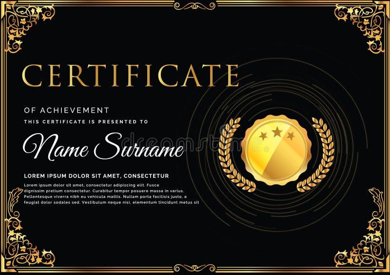 Mall för certifikat för storgubbeparti högvärdig svart och guld- design, med dekorativ blom- bakgrund kortaffischreklamblad begre royaltyfri illustrationer