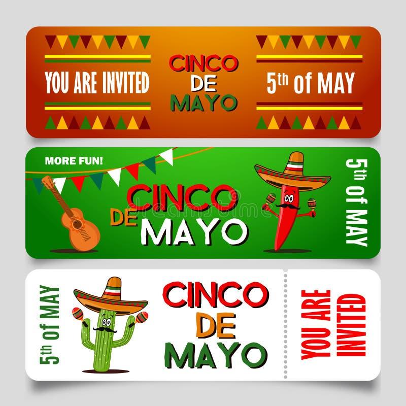 Mall för Cinco de Mayo affischdesign med bokstäver, flammande jalapeno för röd peppar och sombrero - symboler av ferie EPS vektor illustrationer