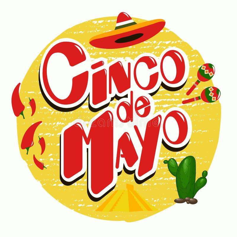 Mall för Cinco de Mayo affischdesign med jalapenoen för röd peppar, sombrero och med maracas royaltyfri illustrationer
