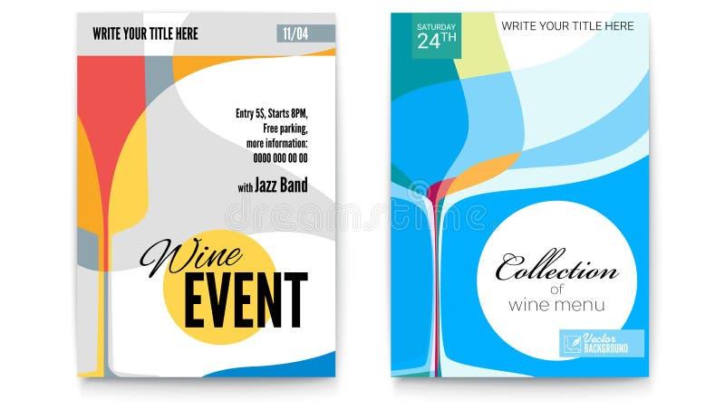 Mall för cocktailparty-, vinfestivalhändelse eller menyräkningar, format A4 Vektormall av affischen, designorientering för stock illustrationer