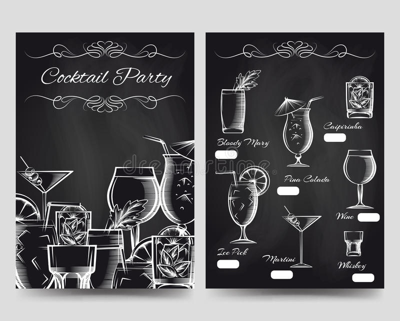 Mall för cocktailpartybroschyrreklamblad stock illustrationer