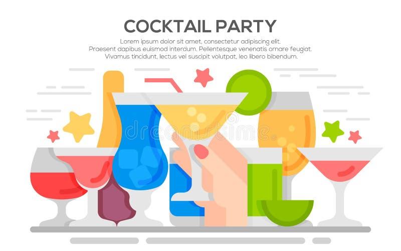 Mall för cocktailpartyinbjudanbegrepp stock illustrationer