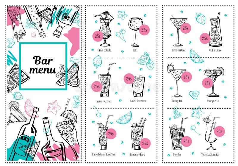 Mall för coctailmenydesign med flaskor, exponeringsglas och illustrationen för hand för översikt för drinklistavektor den utdragn vektor illustrationer