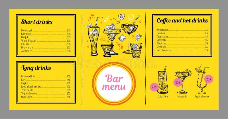 Mall för coctailmenydesign med listan av drinkar, kaffe och diagram med coctailar royaltyfri illustrationer