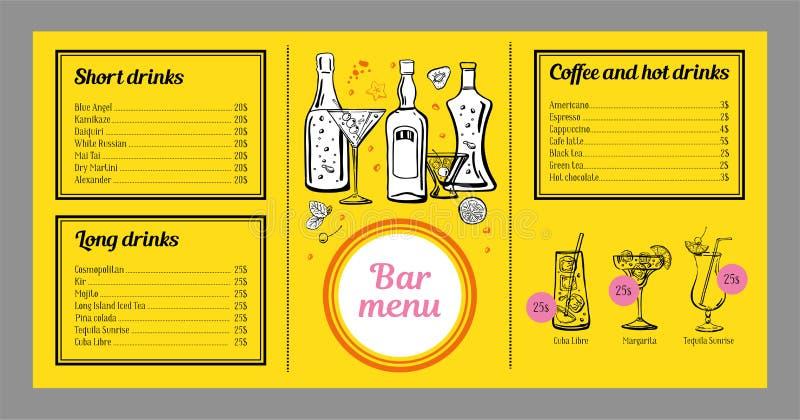 Mall för coctailmenydesign med listan av drinkar, kaffe och diagram med coctailar och flaskor stock illustrationer