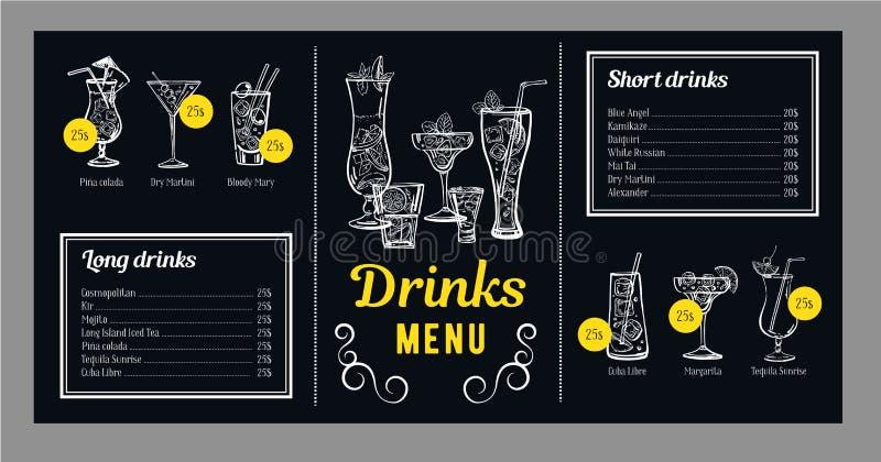 Mall för coctailmenydesign med listan av drinkar och diagram med coctailar Utdragen illustration för vektoröversiktshand stock illustrationer