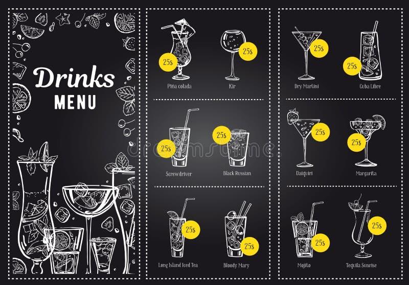 Mall för coctailmenydesign och lista av drinkar Utdragen illustration för vektoröversiktshand med svart tavlabakgrund stock illustrationer