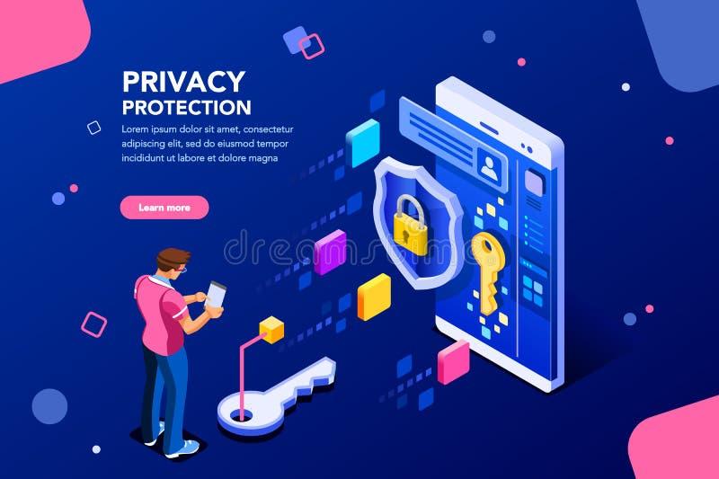 Mall för dataskydd för Website vektor illustrationer