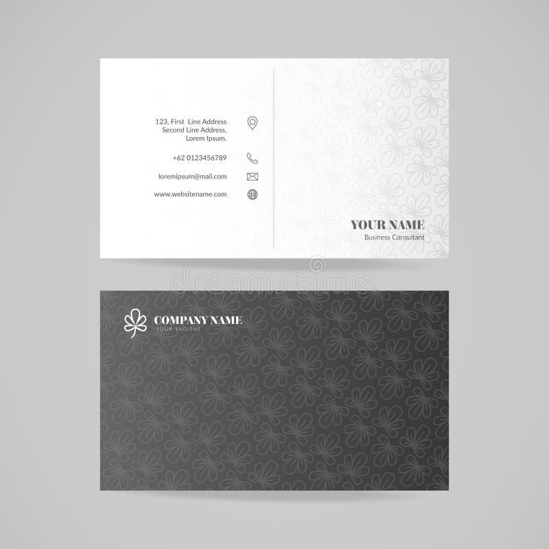 Mall för design för affärskortnamn med den blom- modellen, vektorillustration vektor illustrationer