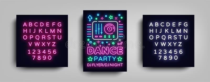 Mall för design för affisch för dansparti i neonstil Tecken för neon för nattpartidiscjockey, ljust baner, reklambladutelivannons royaltyfri illustrationer