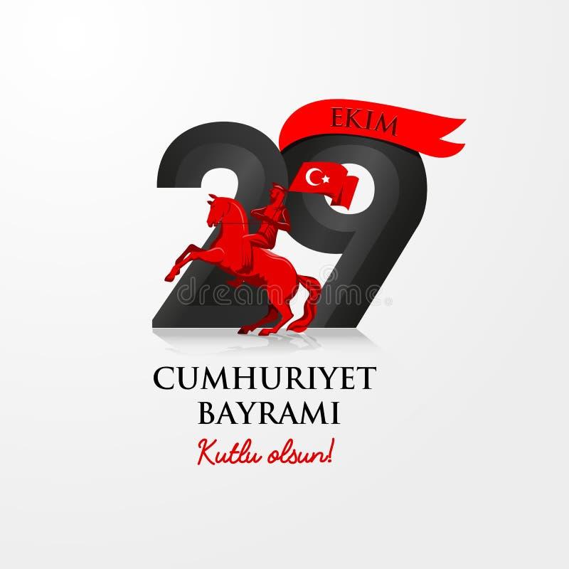 Mall för design för beröm för Turkiet republikdag med inskriften stock illustrationer