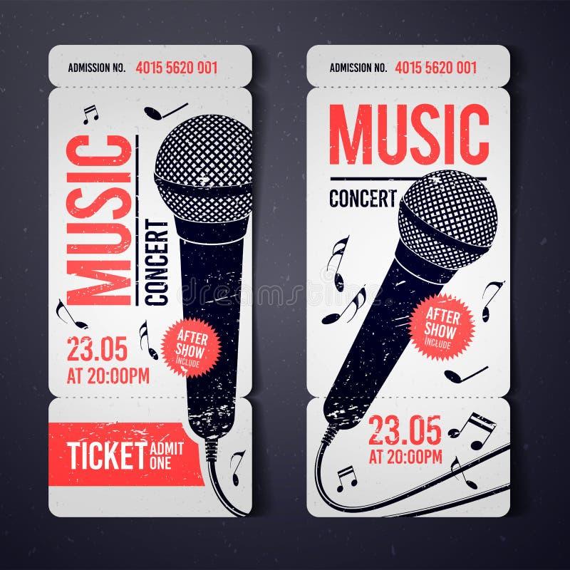 Mall för design för biljett för händelse för konsert för vektorillustrationmusik med kalla mikrofon- och tappningeffekter royaltyfri illustrationer