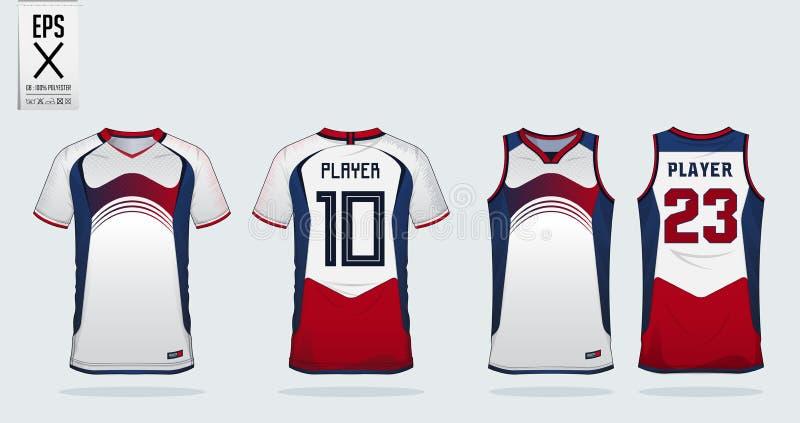 Mall för design för Blått-Röd-vit sportskjorta för fotbollärmlös tröja, fotbollsats och ärmlös tröja för basketärmlös tröja Sport royaltyfri illustrationer